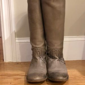 Frye Tall Riding Boots, Grey, Size 7